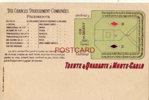 TRENTE & QUARANTE A MONTE CARLO - DIX CHANCES DIVERSEMENT COMBINEES