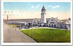 Bangor, Maine Postcard UNION STATION Railroad Depot Street View 1917 Cancel