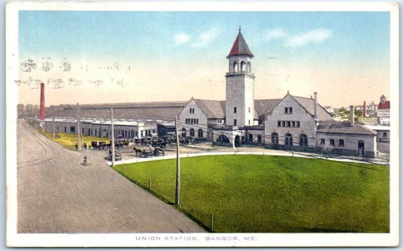 Bangor, Maine Postcard UNION STATION Railroad Depot Street View 1917 Cancel