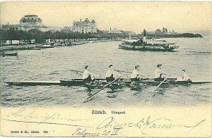 Ansichtskarten Schweiz VINTAGE POSTCARD: SWITZERLAND - ZURICH - ROWING 1905