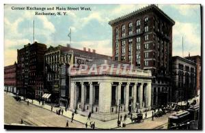 Postcard Old Corner Main Street West Exchange and Rochester