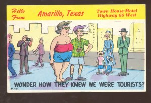 AMARILLO TEXAS ROUTE 66 ARROW COURTS MOTEL OLD CARS ADVERTISING POSTCARD