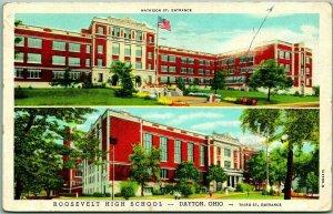 Dayton, Ohio Postcard ROOSEVELT HIGH SCHOOL 2 Building Views Linen 1945 Cancel