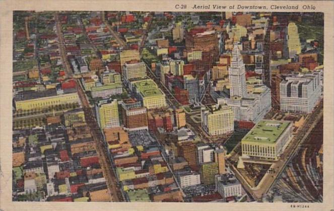 Ohio Cleveland Aerial View Of Downtown 1951 Curteich