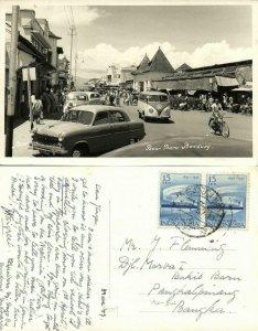 indonesia, JAVA BANDUNG, Pasar Baru, VW V.W. Bus (1957) RPPC Postcard