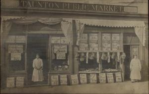 Taunton MA Public Market Stupendous Storefront Butchers Signs etc c1910 RPPC