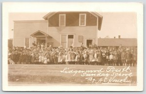 Lidgerwood North Dakota~Presbyterian Church Sunday School Kids Outside~1911 RPPC