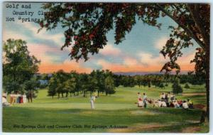 HOT SPRINGS, Arkansas  AR   GOLF and COUNTRY CLUB   c1940s Linen  Postcard
