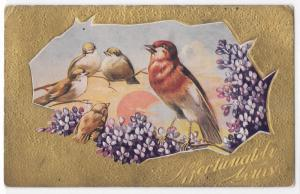 Vintage Old Postcard Affectionately Yours Birds with Lilacs Gold 1911 Four Bar