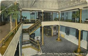 Des Moines IA~Hotel Wellington~Lobby~Elevator Cage~Staircase~Gold Pillars~1910
