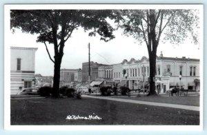 ST. JOHNS, Michigan  MI ~ STREET SCENE and Park c1950s Clinton County  Postcard