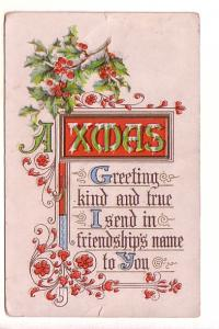 Christmas Greetings, Holly with Berries. Split Ring Cancel Little River Musqu...