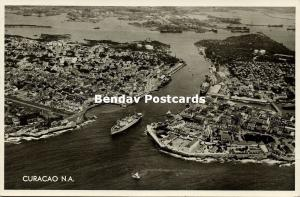 curacao, N.A., WILLEMSTAD, Air View of Harbour (1955) RPPC Stamp