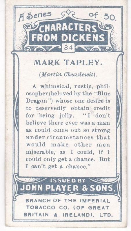 Cigarette Cards Players Characters From Dickens No 34 Mark Tapley