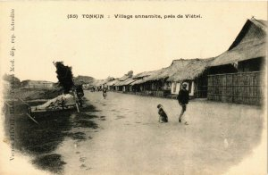 CPA AK INDOCHINA Tonkin Village annamite, pres de Vietri VIETNAM (957350)