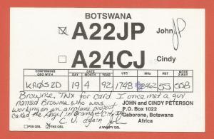QSL AMATEUR RADIO CARD –GABORONE, BOTSWANA – 1992