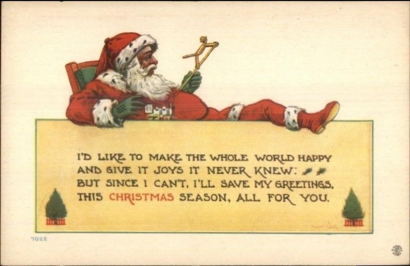 Christmas - Santa Claus w/ Feet Up - Bernhardt Wall c1915 Postcard