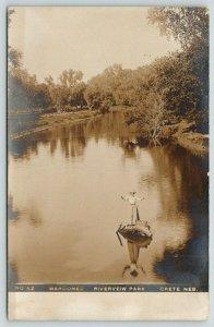 Crete Nebraska~Marooned: Riverview Park~Victorian Lady on Log in Water~1912 RPPC