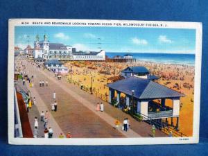 Postcard NJ Wildwood By The Sea Beach & Boardwalk Looking Toward Ocean Pier