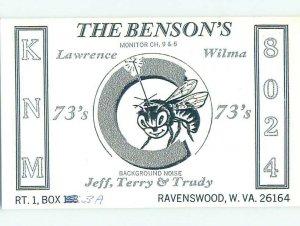 Pre-1980 RADIO CARD - CB HAM OR QSL Ravenswood West Virginia WV AH2878@