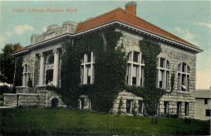 Hudson Michigan~Ivy-Attrracting Public Library~Corner View 1910 Postcard