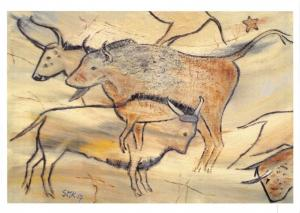 NEW Art Postcard, Buffalo Spanish Caves pastiche by Stella M Kinread 27O