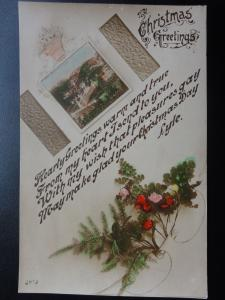 Christmas Greeting 'Hearty Greetings Warm and True.....' RP Old Postcard