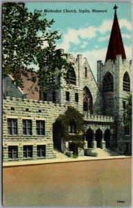 Joplin, Missouri Postcard First Methodist Church Building / Street View Linen