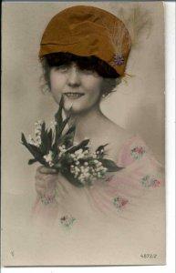 Beautiful Woman NOVELTY ADD ON HAT & HAIR c1910 Real Photo Postcard #3