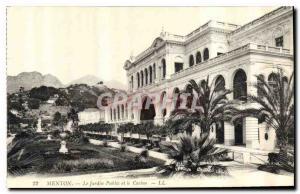 Old Postcard Menton The Public Garden and the Casino