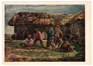 1961 Knucklebones Peasant Child Ethnic Folk Russia USSR RARE Postcard