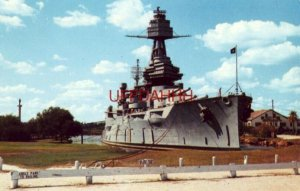 THE BATTLESHIP TEXAS AT PERMANENT ANCHORAGE IN HOUSTON