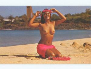 Unused 1960's RISQUE SEXY TOPLESS HAWAIIAN MAIDEN GIRL State Of Hawaii HI E5702
