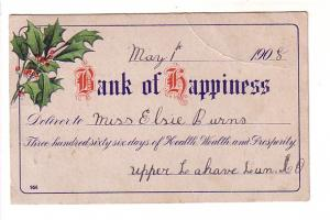 Bank of Happiness Cheque, Holly, Baker Settlement Nova Scotia Split Ring Cancel