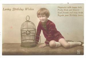 Loving Birthday Wishes, Boy with bird in cage, 00-10s