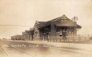 Holly CO Sante Fe Railroad Station Train Depot 1921 Real Photo Postcard
