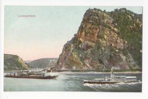 Germany Loreleyfelsen Lorelei Rock Rhein River Boats Vtg c 1910 Postcard