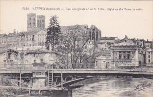 VERDUN, Meuse, France, 1900-1910's; Verdun Bombarde, Vue Des Quais Et De La V...