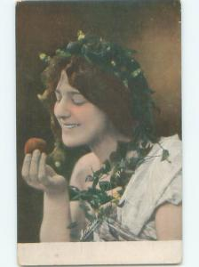foreign Old Postcard EUROPEAN WOMAN LOOKING AT APPLE AC2483