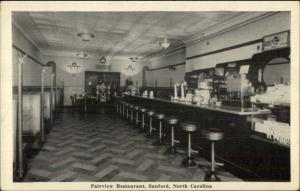 Sanford SC Lunch Counter Art Deco Stools Fairview Restaurant Postcard