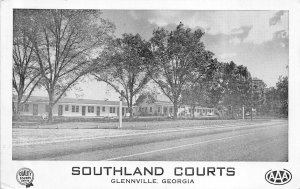 Glennville Georgia 1950s Postcard Southland Courts Motel