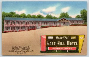 Seward Nebraska~East Hill Motel~Roadside US 34~Art Deco Sign~1940s Linen PC
