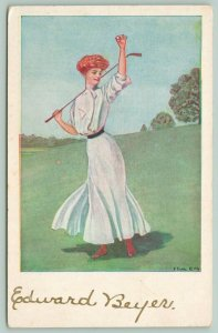 F Earl Christy~Sports Serie~Golf Girl Holds Up Ball~Club Over Shoulder~#584~1911