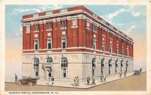B28/ Parkersburg West Virginia WV Postcard 1922 Masonic Temple Fraternity