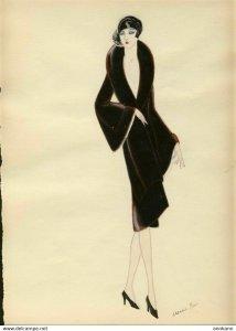 ORIGINAL ART hand drawn ART DECO 1920s woman's fashion #6 MODE