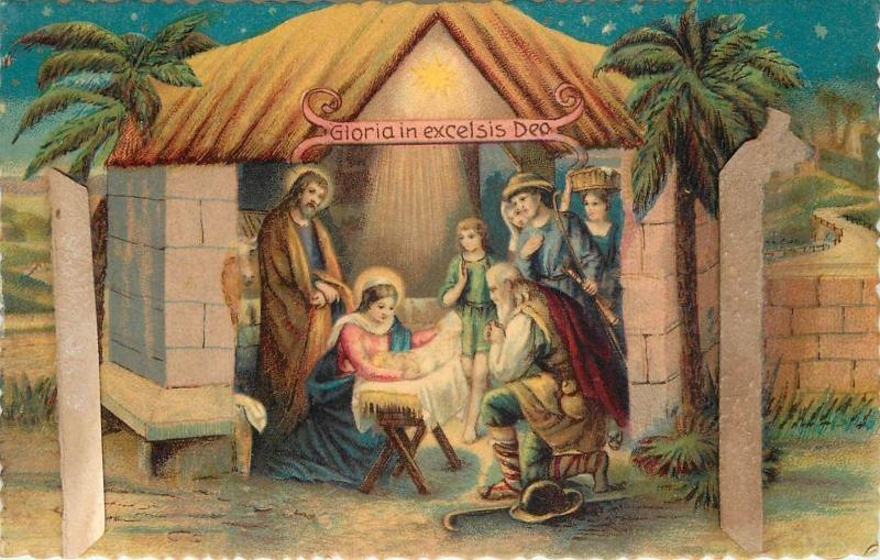Gloria in excelsis Dio Nativity scene vintage damaged postcard Italy 1930s