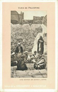 Palestine A Syrian Council Session Chocolaterie Advertising Postcard   06.08