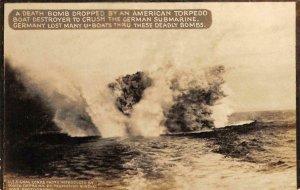 RPPC American Torpedo Boat Bomb German Submarine WWI ca 1910s Vintage Postcard