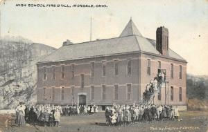 Irondale OH Students~All Ages in 2 Groups & On Fire Escapes~HS Fire Drill! c1910