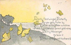 Butterflies Post Card, Butterfly Postcard Fleetwinged Butterfly 1910